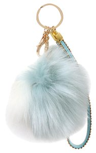 Other Blue And White Color Block Rhinestone Crystal Accent Pom Pom Rabbit Fur Bag/Purse Charm Key Chain Accessory