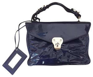 Balenciaga Patent Leather Chic Mirror Edgy Satchel in Blue