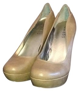 Guess Almond Toe Stiletto Taupe Platforms