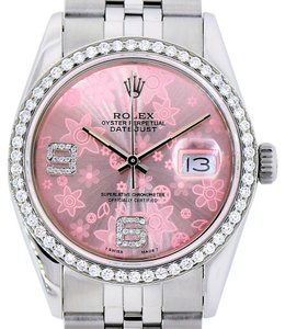 Rolex Rolex Datejust 36mm Stainless Steel Pink Flower Diamond Dial Bezel Watch 1.25 Ct
