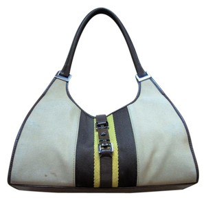 Gucci Jackie O Style Canvas Leather Hobo Bag