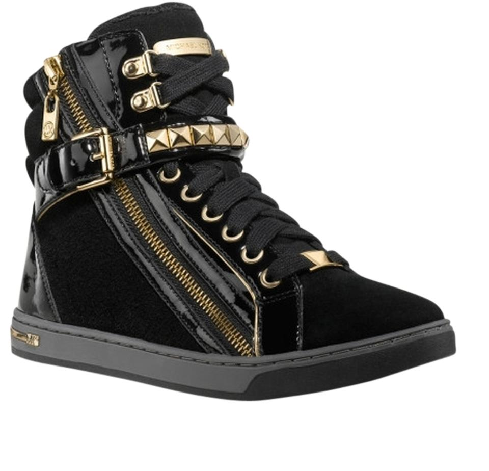 245415ddf715 Michael Kors Black Glam Studded High Top Leather Sneakers Sneakers ...
