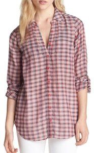 Joie Plaid Summer Light Button Down Shirt Multicolor