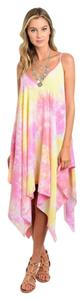Pink and Yellow Maxi Dress by Other Spaghetti Strap Cocoon Asymetrical Midi Summer