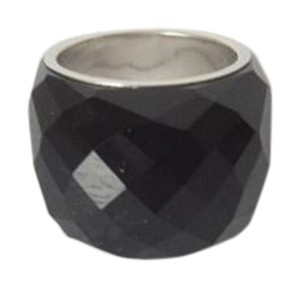 Colleen Lopez Colleen Lopez Faceted Black Onyx Dome Ring Size 8