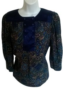 Banana Republic Silk Top Dark Blue Paisley