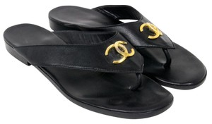 Chanel Cambon Espadrille Quilted Black Sandals