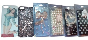 Apple Sparkly Pearl Chain Pin Up iPhone 5 Cases Bow Flower Pink Black White Lot of 6