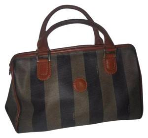 Fendi Print Brown Mint Vintage M-l Size Satchel in Wide Striped 'Pequin' Coated Canvas & burnt orange leather