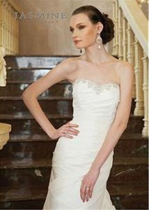 Jasmine Bridal Sz 4/6 F256 Beaded Straps Neckline Gathered Bodice Skirt Wedding Dress