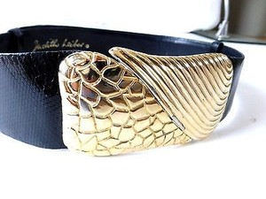 Judith Leiber Judith Leiber Vintage Black Snakeskin Belt With Gold Buckle