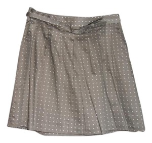 The Limited Polka Dot Pleated Mini Mini Skirt Taupe