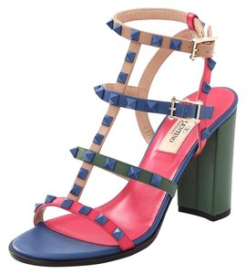 Valentino Rockstud Studded City T Strap Colorblock Pink Multi Sandals