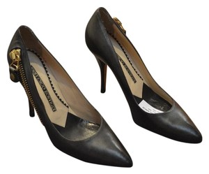 Jimmy Choo Elliott Consignment Leather Consignment Olive Green Pumps