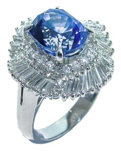 Natural Ceylon Sapphire Platinum Diamond Cocktail Engagement Wedding Ring