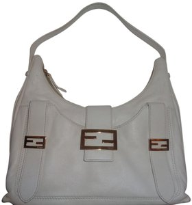 Fendi Gold Hardware White Leather Dust Hobo Bag