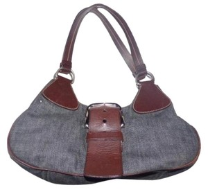 Prada Chrome Hardware Crescent Shape Mint Vintage Classic Style Great Everyday Satchel in dark rinse denim & brown leather