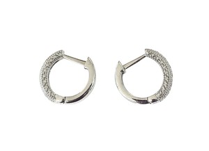 Silver Small Hoop Earrings w/ Pave Diamonds
