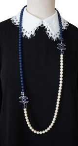Chanel Chanel White/Blue Long Pearl Necklace 2 Large Metal CC Logos 47.5