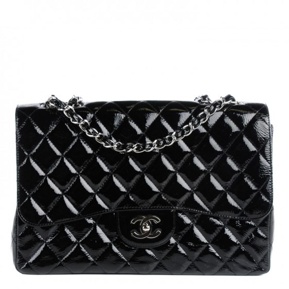 64be72dd759a Chanel Classic Flap 2.55 Reissue Quilted Lambskin Ruthenium Shw Jumbo Black  Patent Leather Shoulder Bag