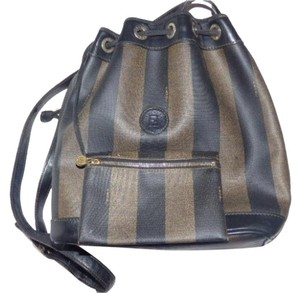 Fendi Xl Size Satchel in Wide striped Coated Canvas & Leather in browns