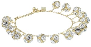 Kate Spade GOLD Kate Spade Classic Beautiful Lady Marmalade Mini Bracelet 12K Gold Plate with Faceted Glass Crystal