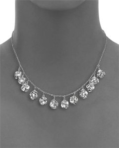 Kate Spade Beautifully Classic Kate Spade Lady Marmalade Mini Short Necklace Rhodium Silver Faceted Crystal