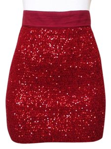 Alice + Olivia Sequin Christmas Party Mini Skirt Red