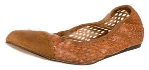 Lanvin Ballet Flat Perforated Suede Brown Flats