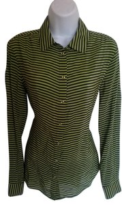 Banana Republic Silk Striped Button Down Shirt Blue/Green
