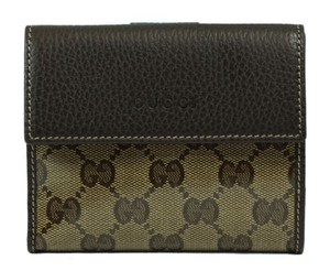 Gucci Gucci 143387 Womens Leathercrystal Coated Canvas French Wallet