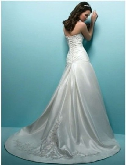Alfred Angelo White Taffeta Lace Crystals Sequins Style 1151 Formal Wedding Dress Size 8 (M)