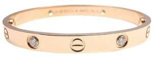 Cartier LOVE Rose Gold 4 Diamonds Bracelet Bangle w/ Screwdriver & Box