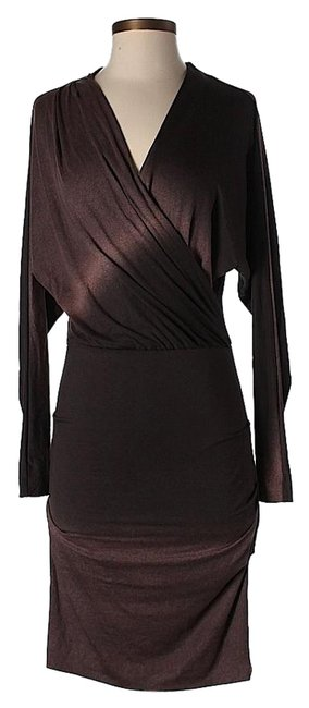 Item - Brown Cross-over Sheath Mid-length Work/Office Dress Size 0 (XS)