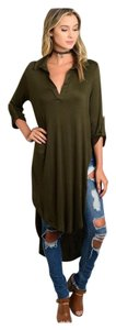 Other Hi Low Collared Shirt Dress Roll Up Green Tunic