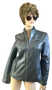 Gallery Pewter metallic gray Leather Jacket