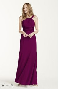 David's Bridal Sangria Chiffon And Charmeuse Dress With Rounded Neckline Dress