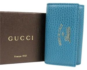 Gucci New Gucci Women's Teal Trifold Key Holder 354499 4618