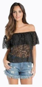 Elan Crop Lace Elastic Bandeau Top Black