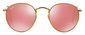 """Ray-Ban Ray Ban RB 3447 ROUND SUNGLASSES 50mm GOLD METAL TRIM with PINK FLASH MIRROR LENSES """"FREE 3 DAY SHIPPING"""""""