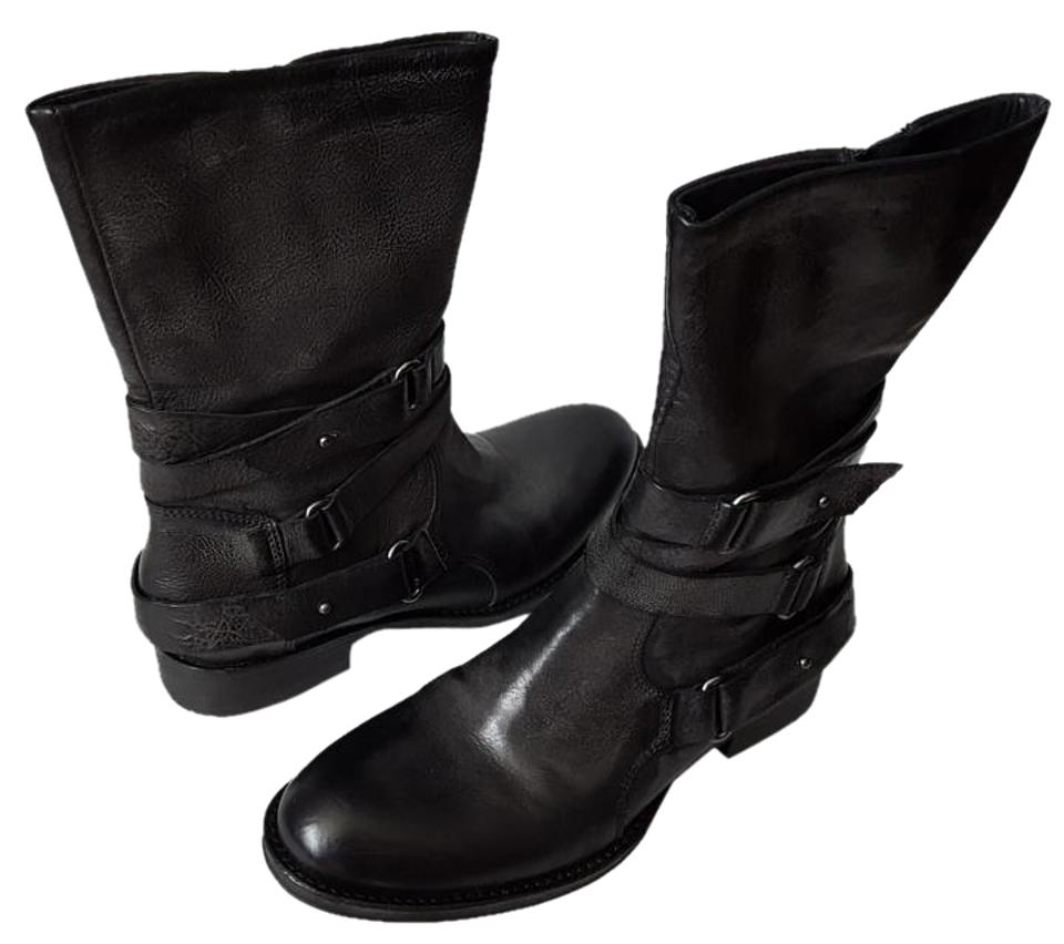 Vera Wang Lavender Label Boots/Booties Black Kipp Strappy Leather Boots/Booties Label b73458