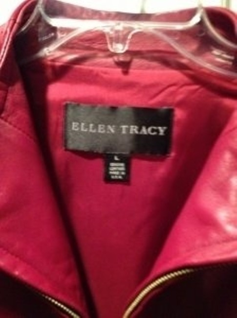 Ellen Tracy Wine Red Leather Jacket Image 1