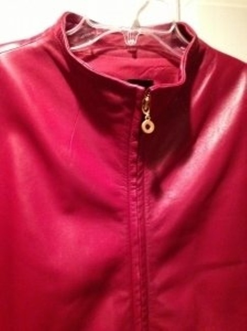 Ellen Tracy Wine Red Leather Jacket Image 3