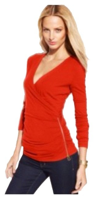 Michael Kors Wrap Fitted Long Sleeves Side Zip Ruched Petite Medium Cotton Spandex Pullover Top Red Blaze Image 0