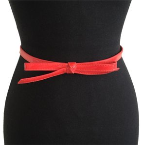 bebe Bebe Red Faux Patent Leather Skinny Bow Detail Waist Belt P/S
