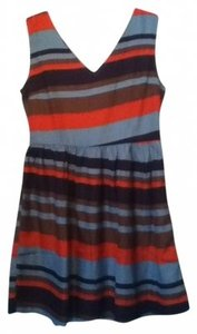 Francesca's short dress Blue/Multi Stripes V-neck Back Zip on Tradesy