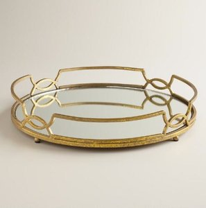 World Gold and Mirrored Tray Centerpiece
