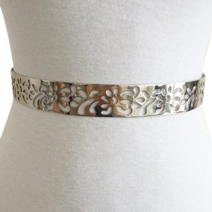 new | Floral Cutout Silver Full Metal Plate Waist Belt S