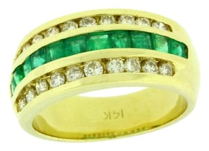 Other .50 carat Diamond & Emerald Ring In 14 karat yellow gold Size 6.5