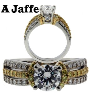 A Jaffe Me1288 18k Gold White Yellow Diamond Engagement Ring Fits 1carat Sz 7